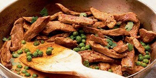 Блюда из свинины: Жареная свинина с зелёным горошком