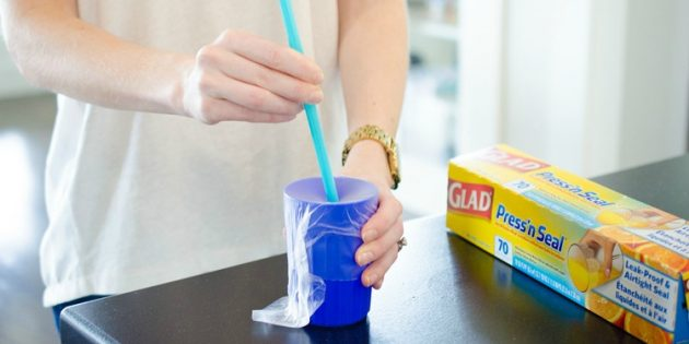 пищевая плёнка: стакан-непроливайка