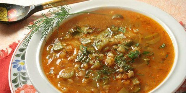 Рецепты рассольника: Вегетарианский рассольник с рисом