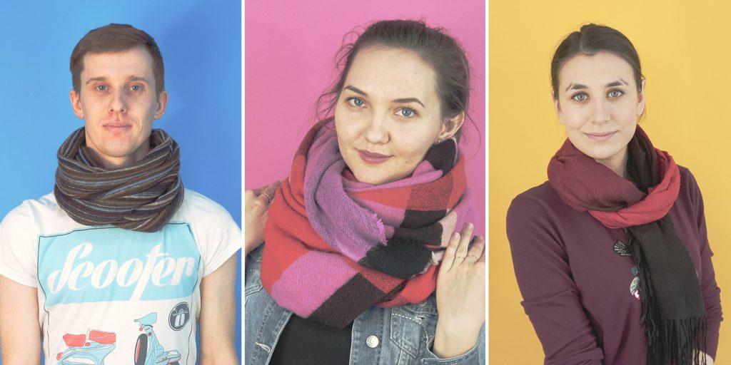 Как модно завязать шарф шелковые и вязаные женские аксессуары