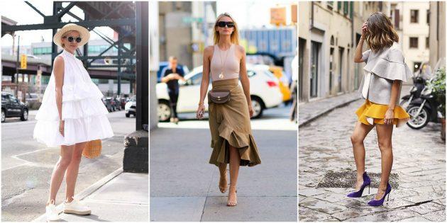 Платья и юбки с оборками
