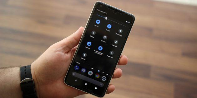 Android P: меню быстрых настроек