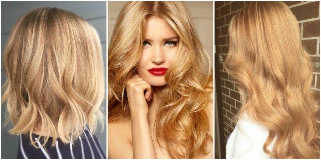 Модные цвета волос: бежево-золотой и медовый блонд