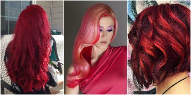 Модные цвета волос: экстремально-красный