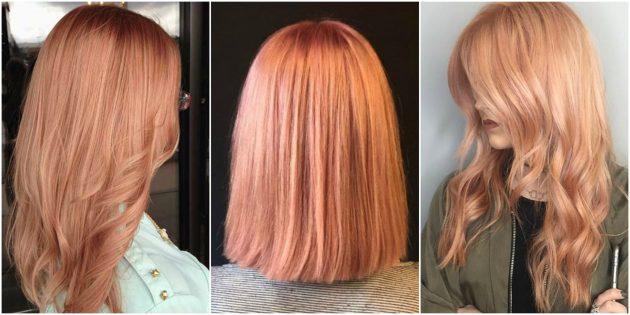 Модные цвета волос: розово-медовый блонд