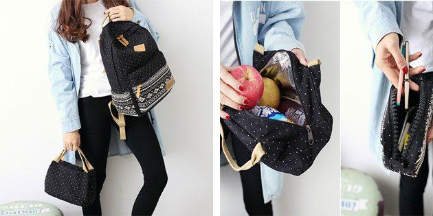 Рюкзак с пеналом и сумкой в комплекте