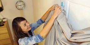 Простое приспособление, позволяющее заправить одеяло в пододеяльник за несколько секунд
