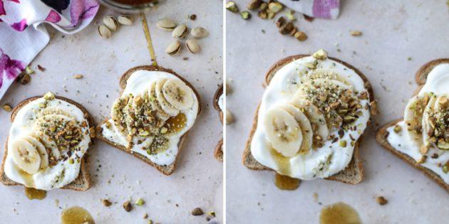 Что приготовить на завтрак: тост с творожным сыром, бананом и фисташками