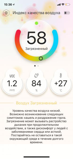 Atmotube 2.0. Индекс качества воздуха