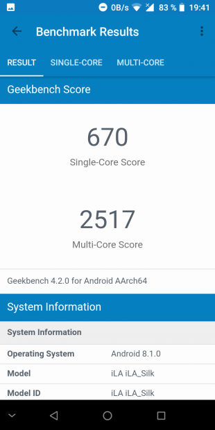 iLA Silk: Geekbench