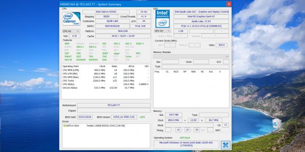 Teclast F7: процессор, видео