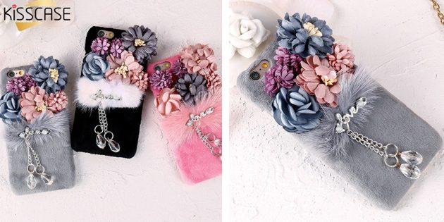 Дешёвые чехлы для iPhone: Чехол с мехом