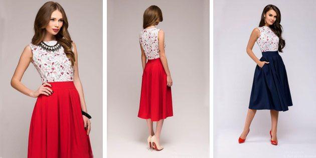 Платье с карманами и контрастного цвета юбкой
