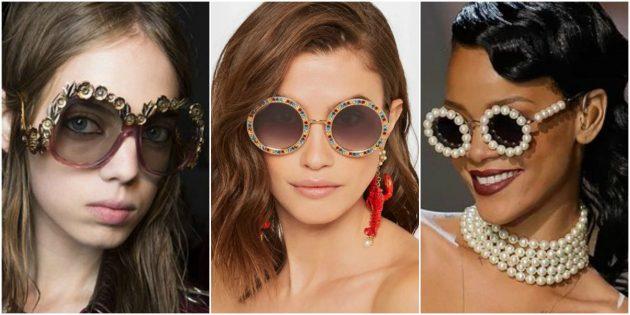 Модные женские очки 2018: Декорированная оправа