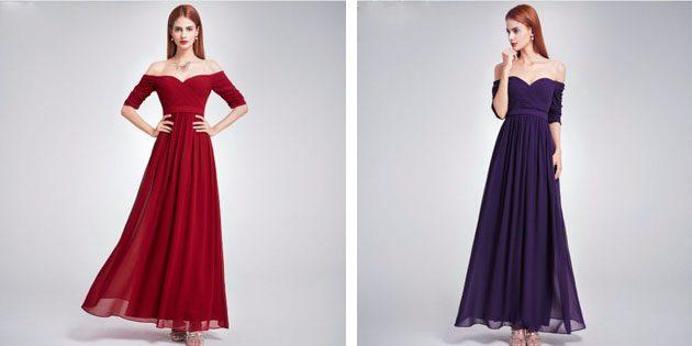 Платье в пол с вырезом сердечком