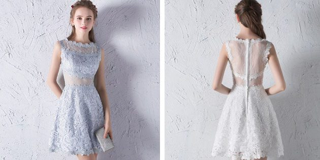 Платье из кружева с прозрачной спинкой