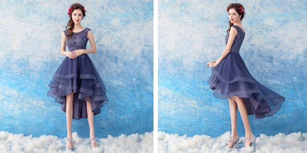 Платье с асимметричным пышным подолом