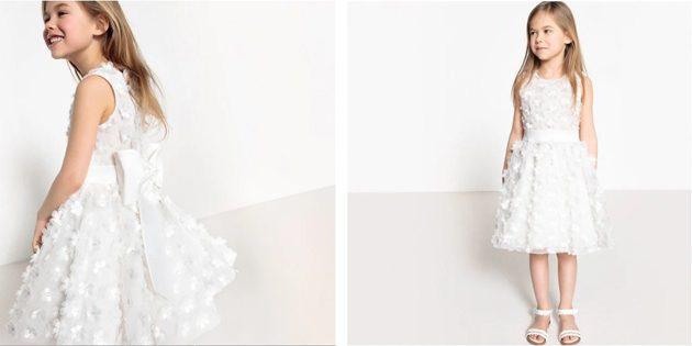 Детские платья на выпускной: Платье с бантом и цветами от La Redoute