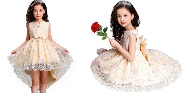 Детские платья на выпускной: Платье с кружевом и вышивкой