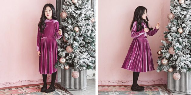 Детские платья на выпускной: Велюровое платье с юбкой плиссе