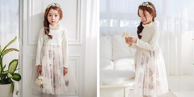Детские платья на выпускной: Платье с двухслойной юбкой