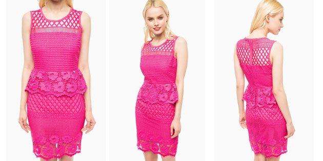 Кружевное платье-футляр цвета фуксии от Liu Jo