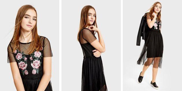 Платье миди из сетки с вышивкой от OSTIN