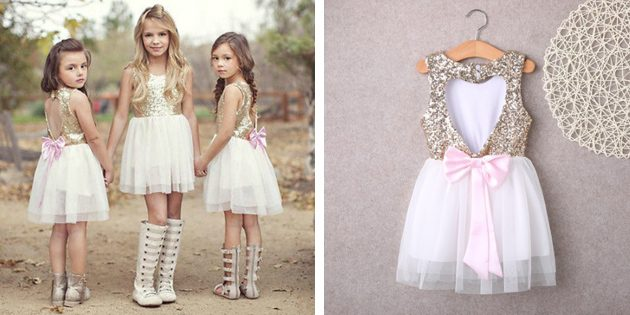Детские платья на выпускной: Платье с пайетками и открытой спинкой