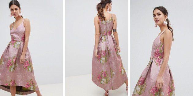 Жаккардовое платье миди с цветочным узором от ASOS