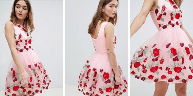 Платье классического кроя с цветочной вышивкой отChi Chi London
