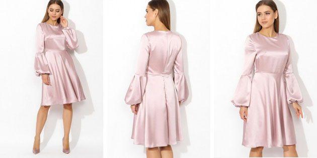 Гладкое платье с объёмными рукавами от Tutto Bene