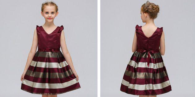 Детские платья на выпускной: Платье с полосатой юбкой