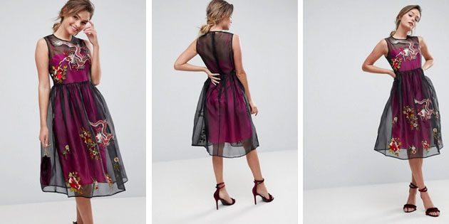 Сетчатое платье миди с контрастной подкладкой от ASOS