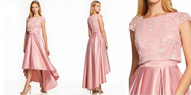 Платье из атласа с асимметричным подолом