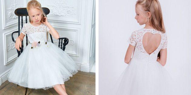 Детские платья на выпускной: Платье с розой и открытой спинкой от Choupette