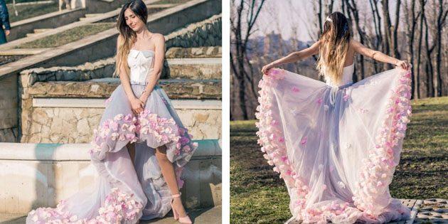 Платье со шлейфом и асимметричным подолом