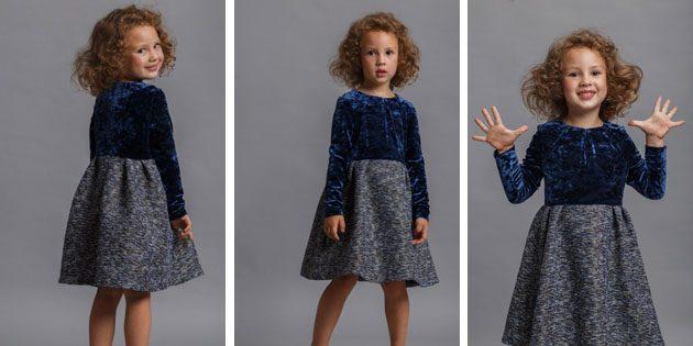 Детские платья на выпускной: Платье из велюра и твидаот Fizerly