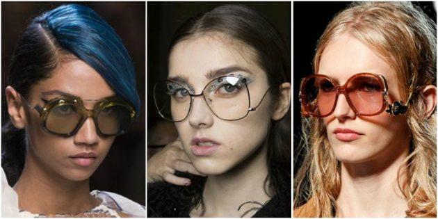 Модные женские очки с заниженными дужками