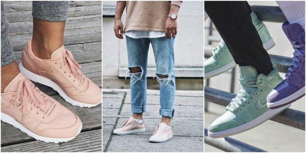 Модные кроссовки 2018: Нюд и пастель