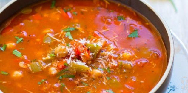 овощные супы: суп с болгарским перцем, помидорами, нутом и рисом