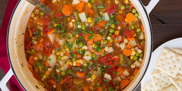 овощные супы: суп с морковью, кукурузой, горошком и стручковой фасолью