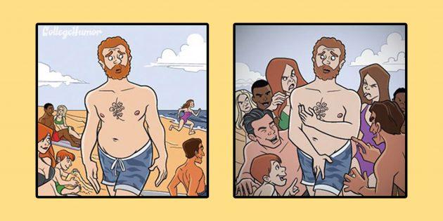 6 комиксов о том, что творится в голове у неуверенного в себе человека