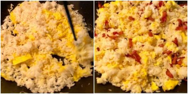 Как приготовить жареный рис с яйцом: Когда рис прогреется, добавьте бекон, соль и соевый соус и хорошо перемешайте
