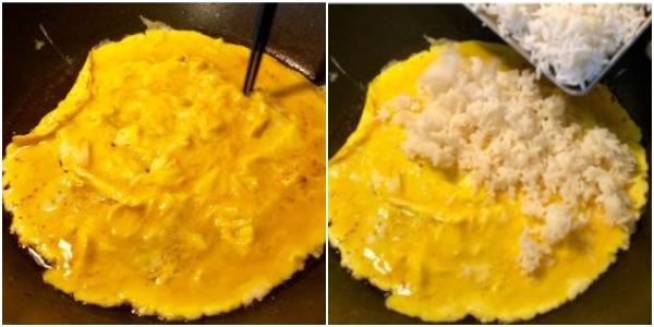 Как приготовить жареный рис с яйцом: Поджарьте яйца и добавьте рис