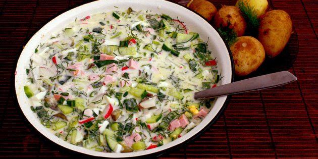 Рецепты окрошки: классическая окрошка с колбасой