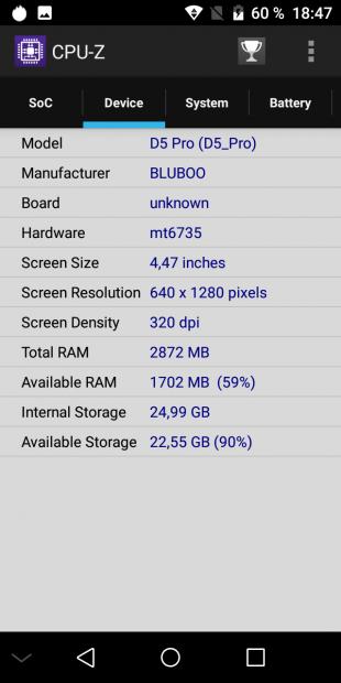 Bluboo D5 Pro. CPU-Z