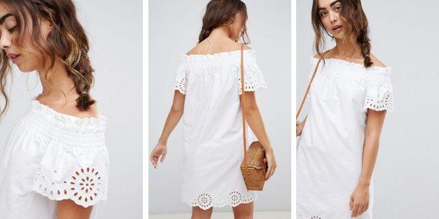 Платье с вышивкой ришелье и открытыми плечами от Warehouse