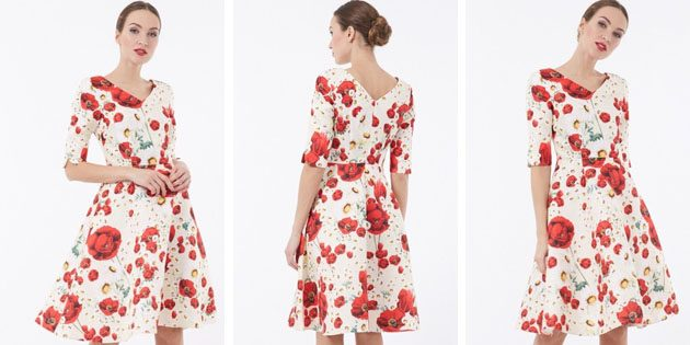 Платье с V-образным вырезом и юбкой полусолнцем от Vladi Collection