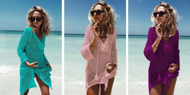 Пляжные платья: Вязаное платье с кисточками