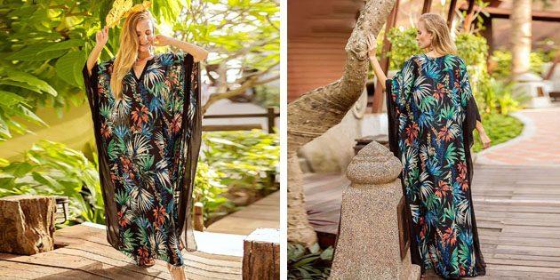Пляжные платья: Платье с тропическим принтом